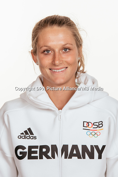 Céline Pieper poses at a photocall during the preparations for the Olympic Games in Rio at the Emmich Cambrai Barracks in Hanover, Germany, taken on 15/07/16   usage worldwide