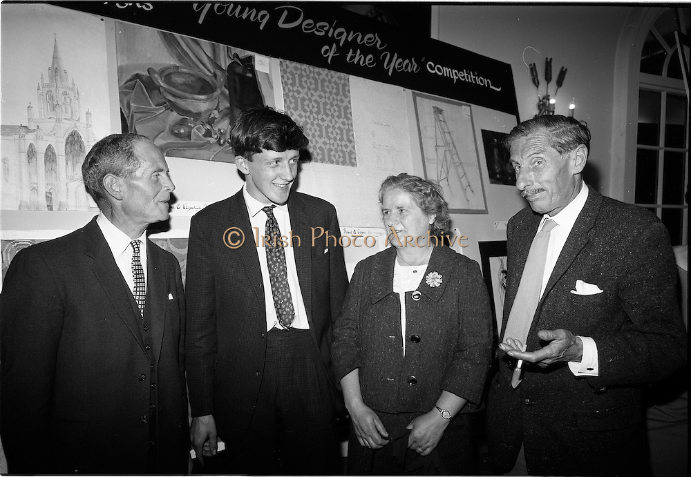 "28/06/1967<br /> 06/28/1967<br /> 28 June 1967<br /> Presentation of prizes at Navan Carpets ""Young Designer of the Year"" reception in the Royal Hibernian Hotel, Dublin. Image shows (l-r): Mr. B.V. Fox, Navan Carpets Ltd.; Michael Ó Éigeartaigh, (prize-winner) Turners Cross, Cork; Mrs Uí Éigeartaigh and Mr. Michael Bourke, Principal of the National College of Art."