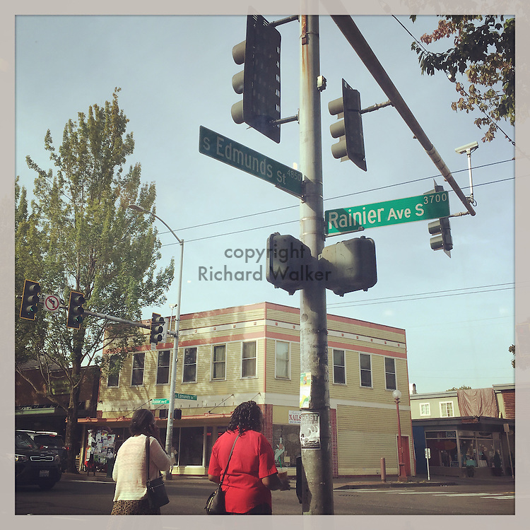 August 26 2016 - Street scene, Columbia City, Seattle, WA. Corner of Edmunds St and Rainier Ave S. By Richard Walker