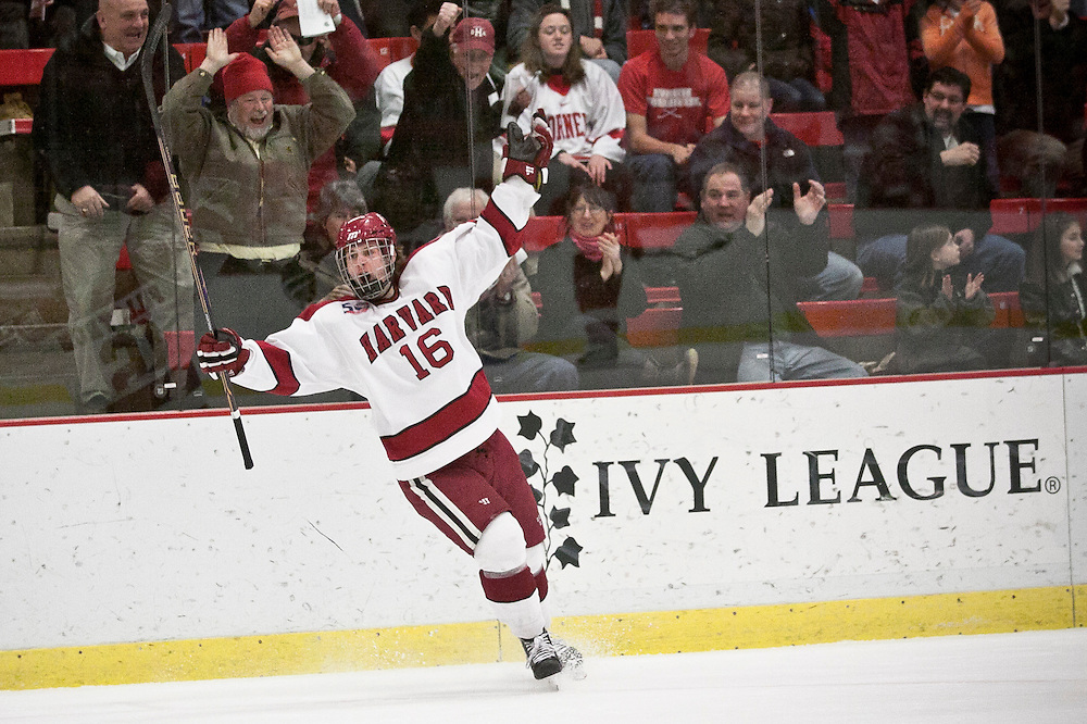 Harvard forward, Alex Fallstrom, celebrates after scoring during second period action against  Cornell at Harvard University.