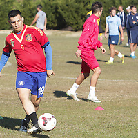 Hernan Vargas of Asheboro, N.C. runs drills Sunday February 8, 2015 during tryouts for the Wilmington Hammerheads F.C. (Jason A. Frizzelle)