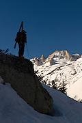 Climbing and Skiing the backcountry  below Matterhorn peak in the High Sierra.