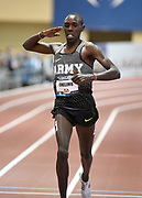 Mar 4, 2017; Albuquerque, NM, USA: Paul Chelimo celebrates after winning the two miles in 8:28.53 during the USA Indoor Championships at Albuquerque Convention Center.