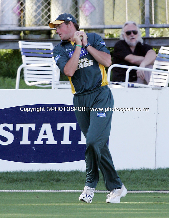 CD's Brent Hefford takes a catch to dismiss Mayu Pasupati during the State Shield cricket match between the Auckland Aces and Central Stags at Eden Park, Auckland, on Wednesday 31 January 2007. CD won the match by 26 runs. Photo: Renee McKay/PHOTOSPORT