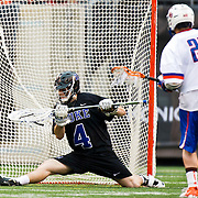 April 01,  2012:  Duke goalie Dan Wigrizer (4) gives up a goal against Syracuse during the Big City Classic at  Met Life Stadium in East Rutherford, New Jersey . Duke defeated Syracuse 12-10. (Credit Image: © Kostas Lymperopoulos/Cal Sport Media)