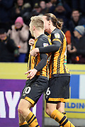 GOAL Hull City forward Jarrod Bowen (20) scores his second goal to make it 3-1 and then celebrates  during the EFL Sky Bet Championship match between Hull City and Swansea City at the KCOM Stadium, Kingston upon Hull, England on 22 December 2018.