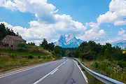 The B-400 road towards Pedraforca mountain, Catalonia, Spain