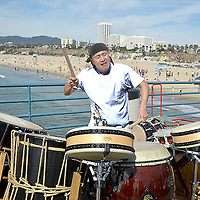 Hiroyuki Hayashida, a Taiko Player who hails from Japan, performs at the Santa Monica Pier on Saturday, February 16, 2013.