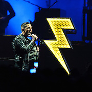 FAIRFAX, VA - December 18th, 2012 - Brandon Flowers of The Killers performs at the Patriot Center in Fairfax, VA. The band is touring behind their latest album, Battle Born, which debuted at number 3 in the US on the Billboard 200.  (Photo by Kyle Gustafson/For The Washington Post)