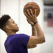 "Markelle Fultz worked out at the North Laurel Community Center ahead of the NBA Draft, in Laurel, MD, on Monday, June 12, 2017. Fultz, 19, a 6'6"" point guard, played one year at the University of Washington and is expected to be the first pick in the NBA draft by the Boston Celtics. John Boal/for The Boston Globe"