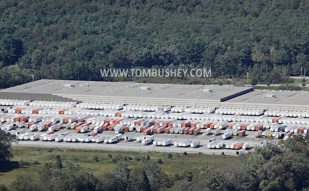 Wurtsboro, New York - Cargo trailers are parked behind the 500,000-square-foot Kohl's distribution center in this view from Shawangunk Ridge on  Sept. 18, 2011. The distribution center has nearly 200 bays for loading and unloaded trucks.