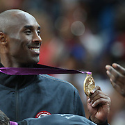 Kobe Bryant, USA, with his Gold Medal during the Men's Basketball Final between USA and Spain at the North Greenwich Arena during the London 2012 Olympic games. London, UK. 12th August 2012. Photo Tim Clayton