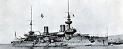 French Navy pre-dreadnought battleship 'Bouvet', commissioned in 1898. Lost in the Dardanelles straits, 18 March 1915, when she struck a mine and exploded.