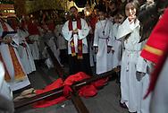 Corsica. France. sartene,  holy monday easter procession in  / sartene , procession du lundi de paques, chemin de crioix dans les rues de Sartene