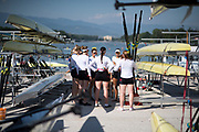 Plovdiv BULGARIA. 2017 FISA. Rowing World U23 Championships. Coach. Lesley THOMPSON-WILLY chats with the  CAN. BW8+, getting ready to boat, <br /> <br /> Wednesday. AM, general Views, Course, Boat Area<br /> 09:28:59  Wednesday  19.07.17   <br /> <br /> [Mandatory Credit. Peter SPURRIER/Intersport Images].