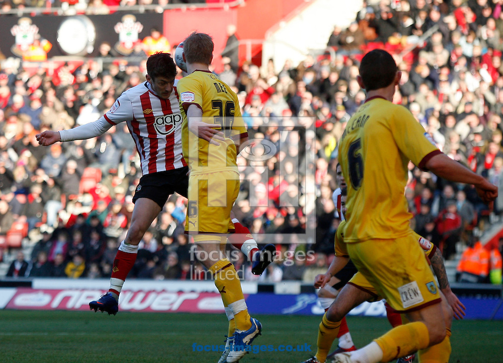 Picture by Daniel Chesterton/Focus Images Ltd. 07966 018899.11/02/12.Adam Lallana of Southampton scores Southampton's first goal and celebrates during the Npower Championship match at St Mary's stadium, Southampton.