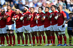 The Tonga team sing their national anthem - Mandatory byline: Patrick Khachfe/JMP - 07966 386802 - 04/10/2015 - RUGBY UNION - Leicester City Stadium - Leicester, England - Argentina v Tonga - Rugby World Cup 2015 Pool C.