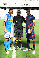 CAPE TOWN, South Africa - Monday 21 January 2013, Veroljub Salatic of Grasshopper Club Zurich and Gladwin Shitolo of Jomo Cosmos toss the coin during the soccer/football match Grasshopper Club Zurich (Switzerland) and Jomo Cosmos at the Cape Town stadium..Photo by Roger Sedres/ImageSA