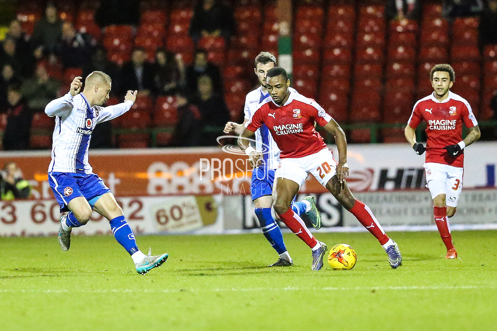 Swindon Town's Jonathan Obika on the ball during the Sky Bet League 1 match between Swindon Town and Walsall at the County Ground, Swindon, England on 24 November 2015. Photo by Shane Healey.