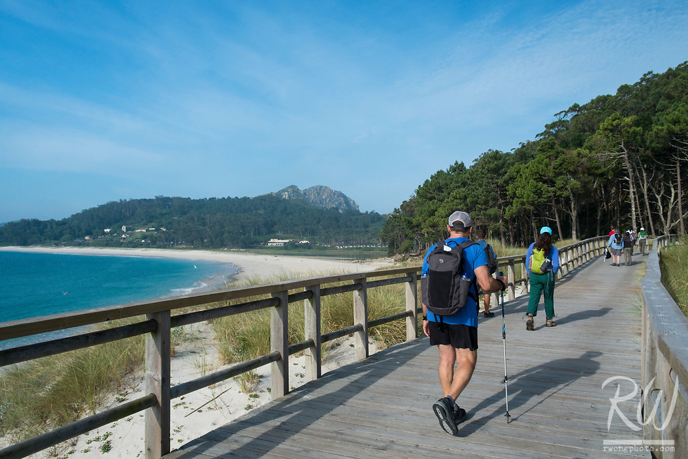 Backroads Tour Group Hiking Trail in The Cies Islands, Atlantic Islands of Galicia National Park, Spain