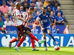 Riyad Mahrez of Leicester City (R) in action against Sunderland  - Mandatory byline: Jack Phillips/JMP - 07966386802 - 08/08/2015 - SPORT - FOOTBALL - Leicester - King Power Stadium - Leicester City v Sunderland - Barclays Premier League