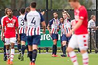 WIJDEWORMER - 03-09-2016, Jong AZ - Excelsior Maassluis, AFAS trainingscomplex, Excelsior Maassluis speler Daniel Oliveira Furtado (2vr) heeft de 1-1 gescoord.