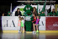 Mascot Hoki with figure skating girls during ice-hockey match between HD Tilia Olimpija and HK Acroni Jesenice  in 6th Round of EBEL league, on September 26, 2010 at Hala Tivoli, Ljubljana, Slovenia. (Photo By Matic Klansek Velej / Sportida.com)