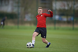 NEWPORT, WALES - Thursday, March 21, 2019: Wales' Aaron Heap during an Under-21 training session at Dragon Park. (Pic by David Rawcliffe/Propaganda)