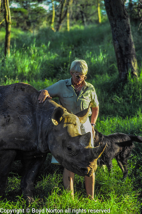 Anna Merz and black rhino Samia