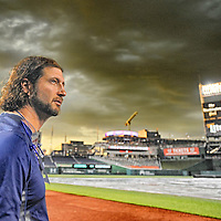 23 June 2015:  Atlanta Braves relief pitcher Jason Grilli (39) stands in the dugout in a 14 frame High Dynamic Range (HDR) image at Nationals Park in Washington, D.C. Photo by Mark Goldma- Goldminephotos