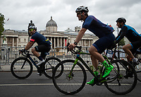 Riders pass Trafalgar Square in The Prudential RideLondon Sportives. Sunday 29th July 2018<br /> <br /> Photo: Ben Queenborough for Prudential RideLondon<br /> <br /> Prudential RideLondon is the world's greatest festival of cycling, involving 100,000+ cyclists - from Olympic champions to a free family fun ride - riding in events over closed roads in London and Surrey over the weekend of 28th and 29th July 2018<br /> <br /> See www.PrudentialRideLondon.co.uk for more.<br /> <br /> For further information: media@londonmarathonevents.co.uk