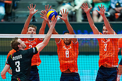 10-08-2019 NED: FIVB Tokyo Volleyball Qualification 2019 / Belgium - Netherlands, Rotterdam<br /> Third match pool B in hall Ahoy between Belgium vs. Netherlands (0-3) for one Olympic ticket / (L-R) Sam Deroo #3 of Belgium, Wessel Keemink #2 of Netherlands, Fabian Plak #8 of Netherlands, Maarten van Garderen #3 of Netherlands