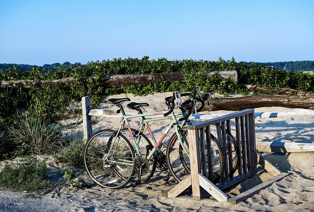 Bikes parked at beach stall, First Encounter Beach, Cape Cod, Massachusetts, USA.