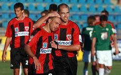 Edin Saranovic (9) of Primorje and Vladimir Ostojic (4) of Primorje  at 6th Round of PrvaLiga Telekom Slovenije between NK Primorje Ajdovscina vs NK Rudar Velenje, on August 24, 2008, in Town stadium in Ajdovscina. Primorje won the match 3:1. (Photo by Vid Ponikvar / Sportal Images)