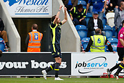Carlisle United's Jamie Devitt  and celebrates  during the EFL Sky Bet League 2 match between Colchester United and Carlisle United at the Weston Homes Community Stadium, Colchester, England on 14 October 2017. Photo by Phil Chaplin