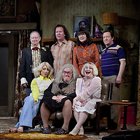 (l-r) Brian Pettifer, Paul Riley, Maureen Beattie and Jonathan Watson <br /> (front)  Louise McCarthy, Gregor Fisher and Barbara Rafferty.<br /> <br /> Yer Granny - a new production by The National Theatre of Scotland opens at the Beacon arts Centre, Greenock, Scotland.<br /> <br /> <br /> Based on La Nona by Roberto Cossa<br /> In a new version by Douglas Maxwell<br /> Directed by Graham McLaren<br /> <br /> <br /> Picture by Drew Farrell<br /> Tel : 07721-735041<br /> Image offered on a speculative basis.<br /> <br /> Yer Granny is a riotous new comedy about a diabolical 100-year-old granny who&rsquo;s literally eating her family out of house and home. She&rsquo;s already eaten their fish and chip shop into bankruptcy and now she&rsquo;s working her way through their kitchen cupboards, pushing the Russo family to desperate measures just to survive beyond 1977.<br /> <br /> As proud head of the family, Cammy is determined that The Minerva Fish Bar will rise again and that family honour will be restored &ndash; and all in time for the Queen&rsquo;s upcoming Jubilee visit. But before Cammy&rsquo;s dream can come true and before Her Maj can pop in for a chat, a single sausage and a royal seal of approval, the family members must ask themselves how far they will go to solve a problem like Yer Granny.<br /> <br /> Adapted from the smash-hit Argentinian comedy classic La Nona, the cast of Yer Granny features some of Scotland&rsquo;s best-loved performers, including Gregor Fisher in the title role, alongside Paul Riley (Still Game), Jonathan Watson (Only An Excuse?), Maureen Beattie (Casualty), Barbara Rafferty (Rab C Nesbitt), Brian Pettifer (The Musketeers) and Louise McCarthy (Mamma Mia!, West End).<br /> <br /> Performance dates :<br /> The Beacon Arts Centre, Greenock<br /> 19/05/2015&nbsp;-&nbsp;21/05/2015 <br /> <br /> King's Theatre, Glasgow<br /> 26/05/2015&nbsp;-&nbsp;30/05/2015 <br /> <br /> King's Theatre, Edinburgh<br /> 02/06/2015&nbsp;-&nbsp;06/06/2015 <br /> <br /> Eden Court, Inverness<br /> <br /> Lyric Theatre, Belfast<br /> 23/06/2015&nbsp;-&nbsp;27/06/2015 <br /> <br /> Dundee Rep Theatre<br /> 30/06/2015&nbsp;-&nbsp;04/07/2015