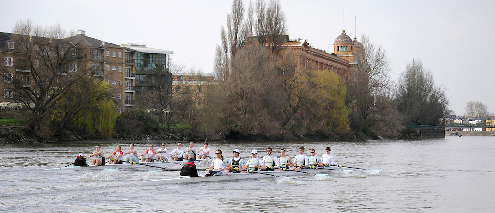 Putney. London. Tideway Week build up to the   2011 University Boat Race over parts of the Championship Course - Putney to Mortlake. Cambridge, CUBC, Blue Boat, starts to move ahead of Isis, as they approach Harrods Depository. Tuesday 22/03/2011  [Mandatory Credit; Karon Phillips/Intersport-images]..Crews:.CUBC [Blue Boat]. Bow Mike THORP, 2 Joel JENNINGS, 3 Dan- RIX STANDING, 4 Hardy CUBASCH, 5 George NASH, 6 Geoff ROTH, 7 Derek RASMUSSEN, Stroke David NELSON and Cox Liz BOX. ... 2011 Tideway Week