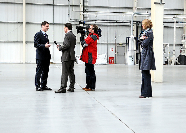 Liberal Democrat Nick Clegg conducting a television interview whilst on a visit to 2K Manufacturing, Luton.