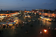 Morocco, Marrakesh. Djemaa el-Fna late in the evening.
