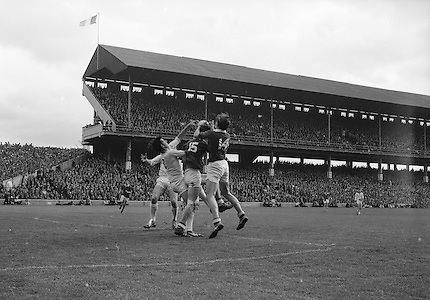 GAA All Ireland Minor Football Final Sligo v. Cork 22nd September 1968 Croke Park..M. Doherty (no.14) Cork full forward gets the ball in a scuffle with J. Brennan (no.3) Sligo full back ..22.9.1968  22nd September 1968