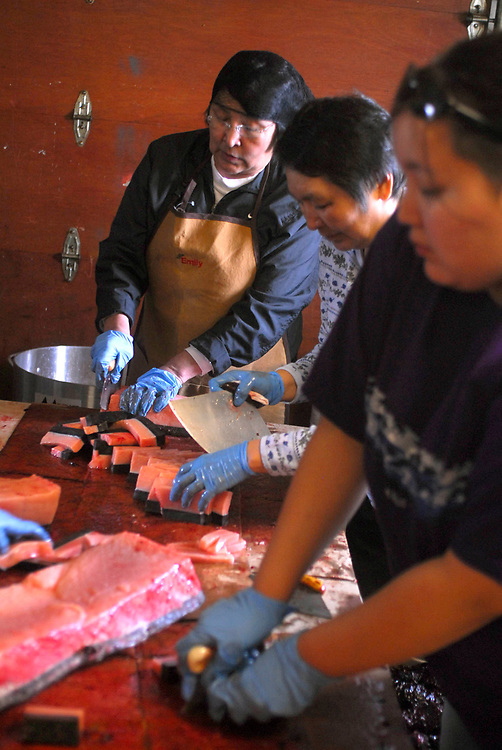 "Barrow, Alaska. After David Leavitt's Crew got a 34ft7"" whale, the women of his crew cut up the whale meat to cook and serve on the feast at the captain's house. This whale was the fourth landed whale of this Spring season. May 2nd 2007."