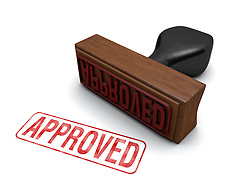 "Rubber stamp that says ""APPROVED"" stamped in red letters on a white background"