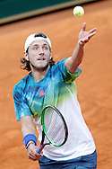 Lucas Pouille during the Madrid Open at Manzanares Park Tennis Centre, Madrid<br /> Picture by EXPA Pictures/Focus Images Ltd 07814482222<br /> 02/05/2016<br /> ***UK &amp; IRELAND ONLY***<br /> EXPA-ESP-160502-0109.jpg