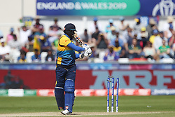 June 28, 2019 - Chester Le Street, County Durham, United Kingdom - Sri Lanka's Angelo Mathews is bowled by South Africa's Chris Morris    during the ICC Cricket World Cup 2019 match between Sri Lanka and South Africa at Emirates Riverside, Chester le Street on Friday 28th June 2019. (Credit Image: © Mi News/NurPhoto via ZUMA Press)