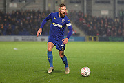 AFC Wimbledon midfielder Scott Wagstaff (7) dribbling during the The FA Cup match between AFC Wimbledon and Doncaster Rovers at the Cherry Red Records Stadium, Kingston, England on 9 November 2019.