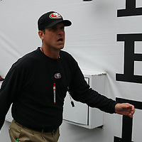 Jim Harbaugh  during an NFL football game between the San Francisco 49ers  and the Tampa Bay Buccaneers on Sunday, December 15, 2013 at Raymond James Stadium in Tampa, Florida.. (Photo/Alex Menendez)