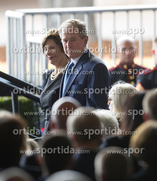 Former U.S. President George W. Bush and his wife Laura Bush attend the funeral of former U.S. First Lady Nancy Reagan at the Ronald Reagan Presidential Library in Simi Valley, California, March 11, 2016. Nancy Reagan died of heart failure last Sunday at the age of 94. EXPA Pictures &copy; 2016, PhotoCredit: EXPA/ Photoshot/ Yang Lei<br /> <br /> *****ATTENTION - for AUT, SLO, CRO, SRB, BIH, MAZ, SUI only*****