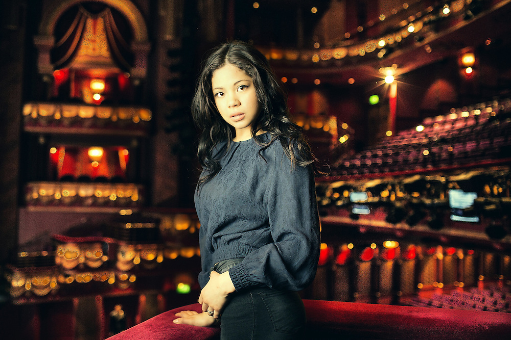Portraits of Eva Noblezada (star of Miss Saigon) at  the Prince Edward Theatre, Soho on Friday May  9 2014.<br /> <br /> Eva Noblezada 18 is american whose stars as Miss Saigon which opened last week.