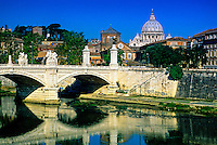 Ponte Vitt. Emanuele (bridge), St. Peter's Basilica in background, Rome, Italy