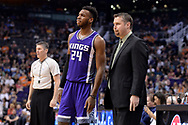 Mar 15, 2017; Phoenix, AZ, USA; Sacramento Kings guard Buddy Hield (24) talks with head coach David Joerger in the second half of the NBA game against the Phoenix Suns at Talking Stick Resort Arena. The Sacramento Kings won 107 - 101. Mandatory Credit: Jennifer Stewart-USA TODAY Sports